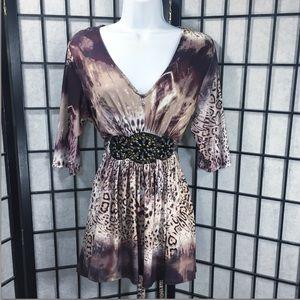▫️ VENUS Women Embellished Waist Brown V Neck XL